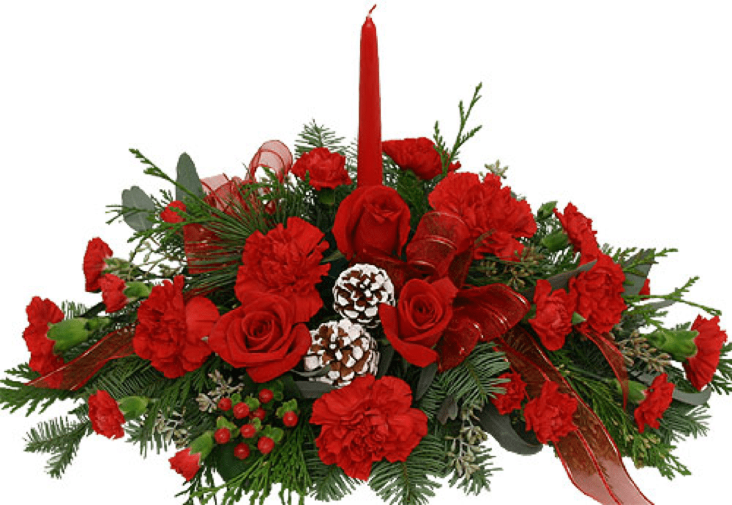Image of the Home for Christmas floral centerpiece