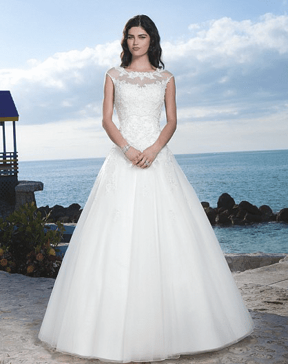 Beaded lace ball gown highlighted by a Sabrina neckline
