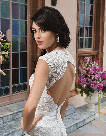 Tulle and Lace Gown with Queen Anne Neckline and Keyhole Back
