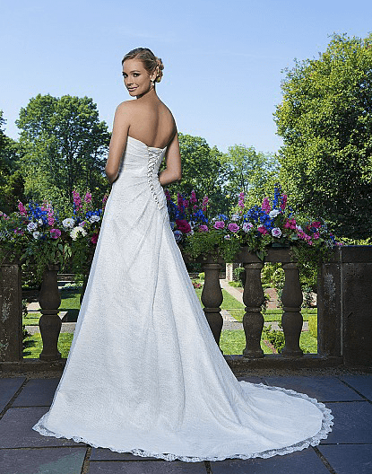 Embroidered Lace Strapless Gown with Assymmetrical Drape