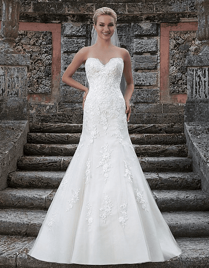Lace and Tulle A-line Strapless Gown