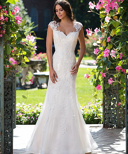 Tulle Fit and Flare with Illusion Keyhole Back