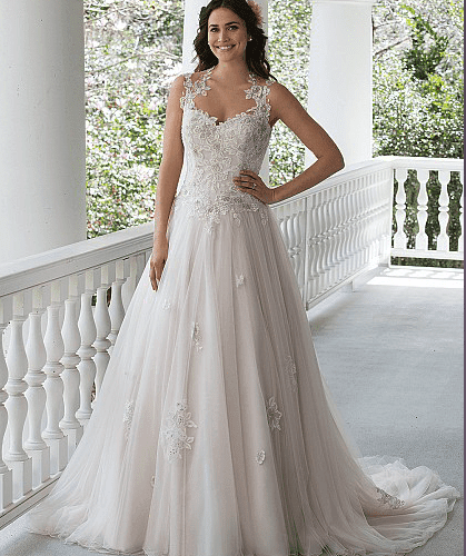 Embroidered Lace Gown with Full Tulle Skirt