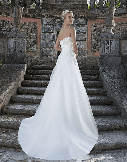 Organza Draped A-Line Gown with Sweetheart Neckline